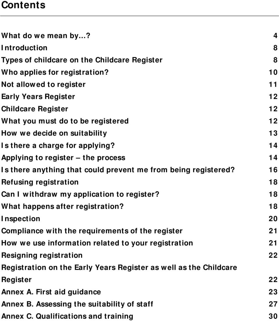 14 Applying to register the process 14 Is there anything that could prevent me from being registered? 16 Refusing registration 18 Can I withdraw my application to register?