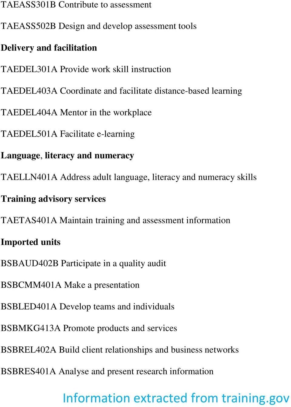 Training advisory services TAETAS401A Maintain training and assessment information Imported units BSBAUD402B Participate in a quality audit BSBCMM401A Make a presentation BSBLED401A Develop