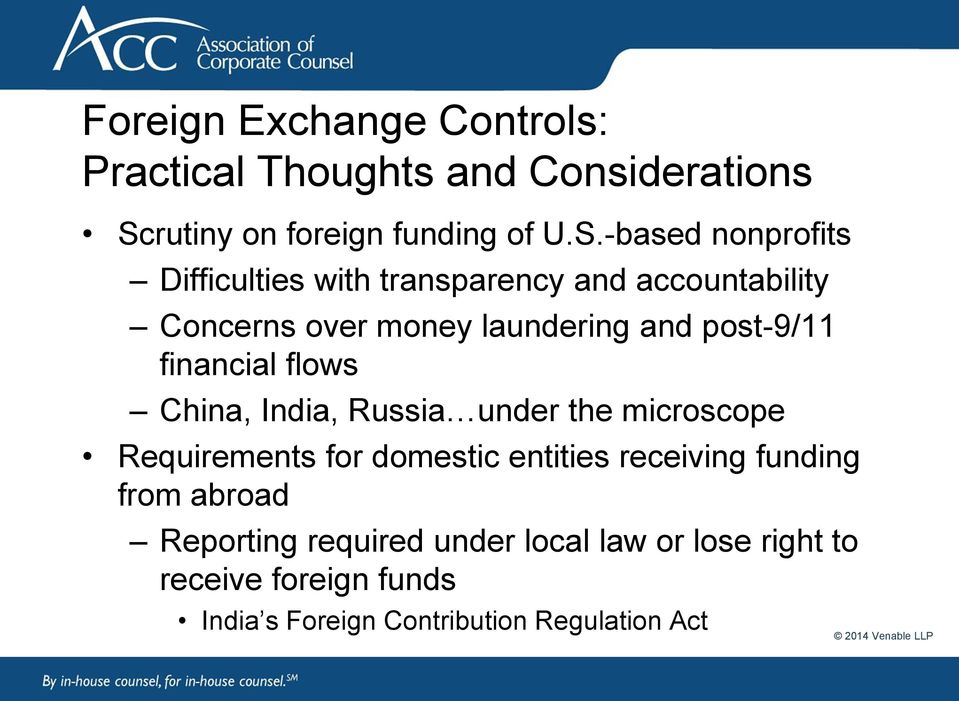 -based nonprofits Difficulties with transparency and accountability Concerns over money laundering and post-9/11