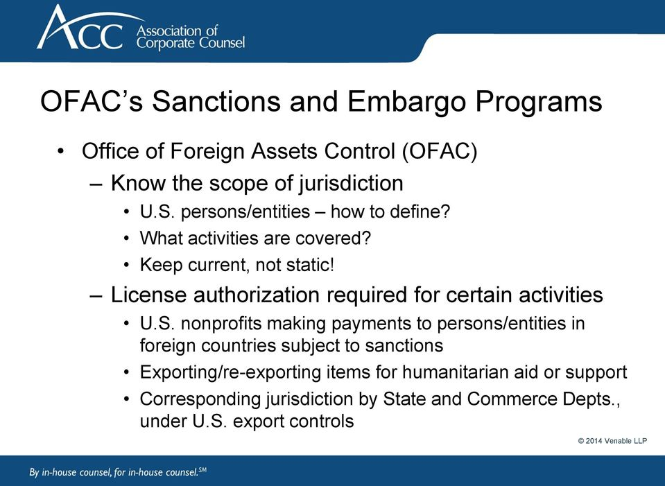 nonprofits making payments to persons/entities in foreign countries subject to sanctions Exporting/re-exporting items for