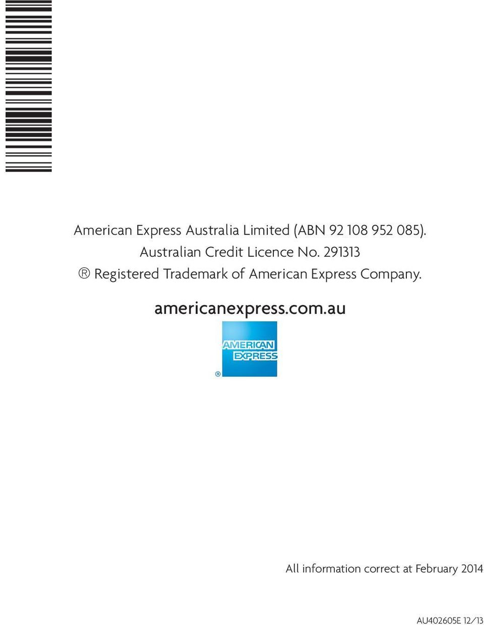 291313 Registered Trademark of American Express Company.