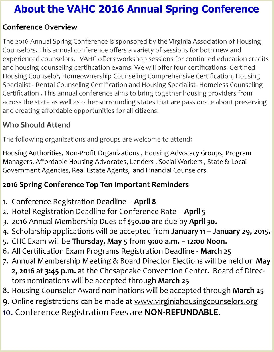 Virginia Association Of Housing Counselors Pdf