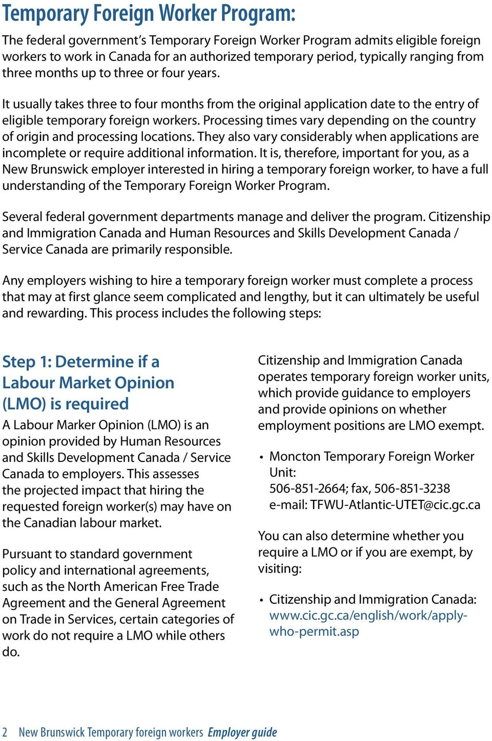 New Brunswick Temporary Foreign Workers Employer guide - PDF