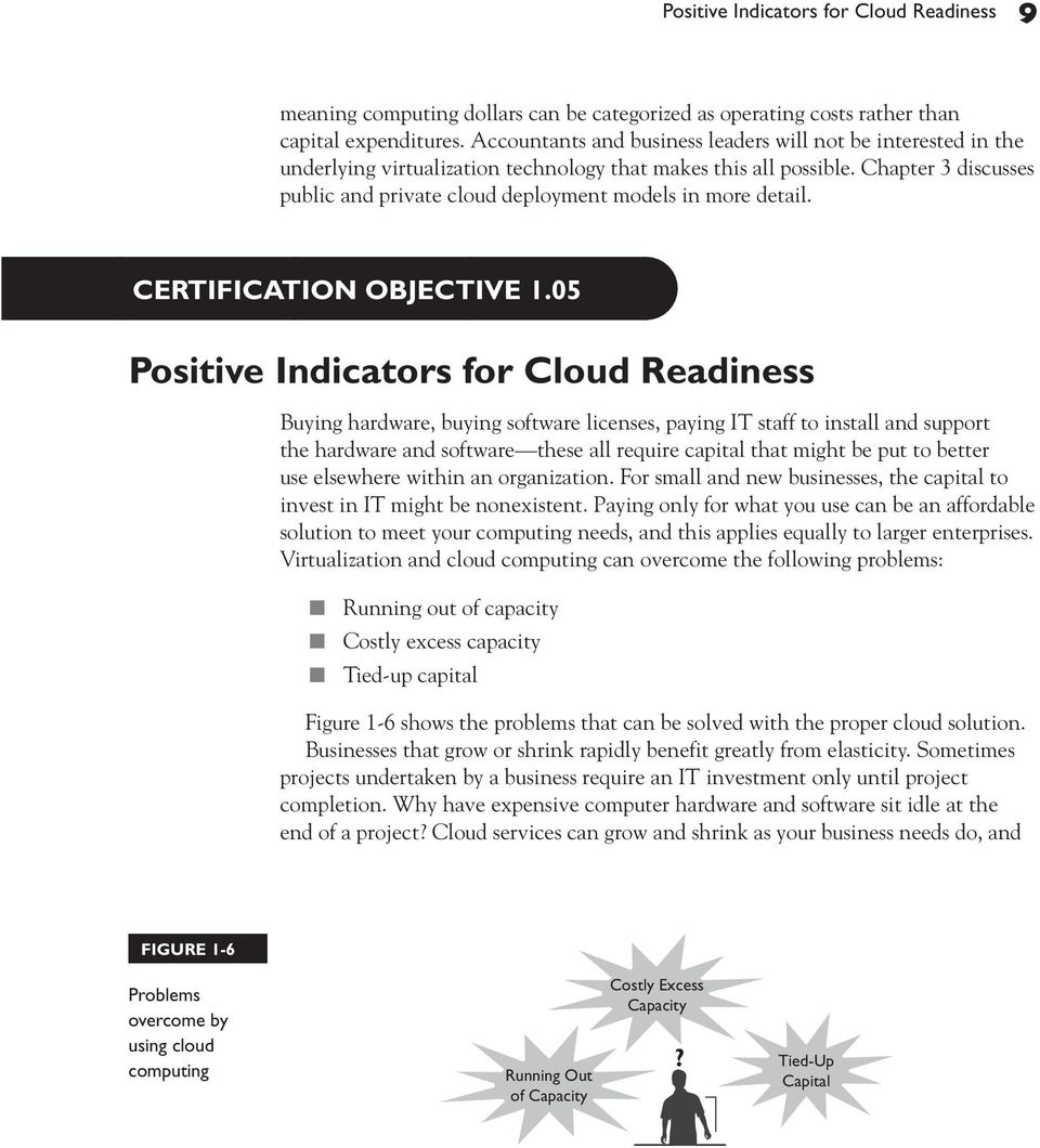 Chapter 3 discusses public and private cloud deployment models in more detail. CERTIFICATION OBJECTIVE 1.
