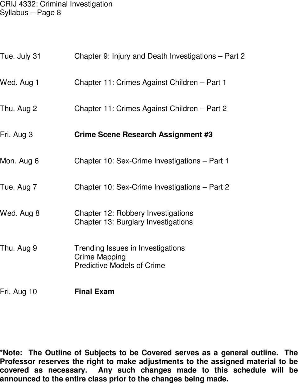 Aug 8 Chapter 12: Robbery Investigations Chapter 13: Burglary Investigations Thu. Aug 9 Trending Issues in Investigations Crime Mapping Predictive Models of Crime Fri.