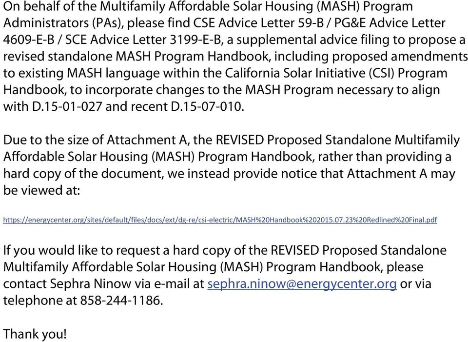 Handbook, to incorporate changes to the MASH Program necessary to align with D.15-01-027 and recent D.15-07-010.