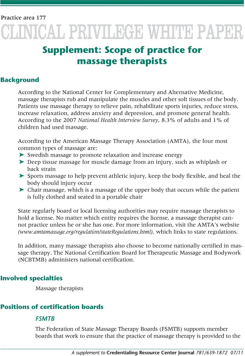 Supplement Scope Of Practice For Massage Therapists Pdf