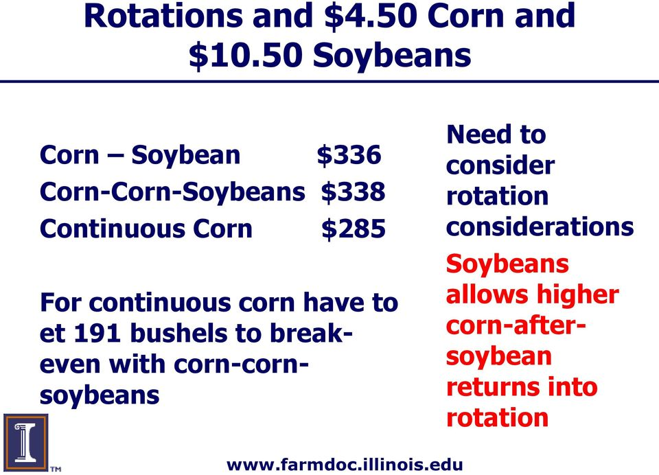 $285 For continuous corn have to et 191 bushels to breakeven with