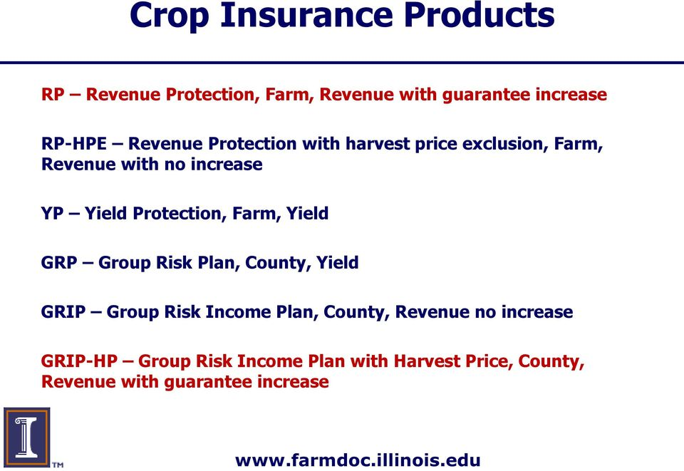 Protection, Farm, Yield GRP Group Risk Plan, County, Yield GRIP Group Risk Income Plan, County,