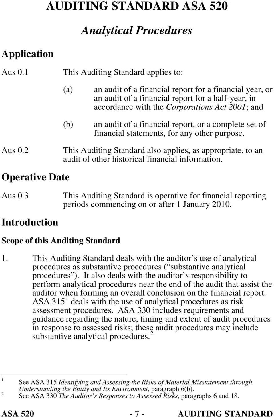 an audit of a financial report, or a complete set of financial statements, for any other purpose. Aus 0.2 Operative Date Aus 0.
