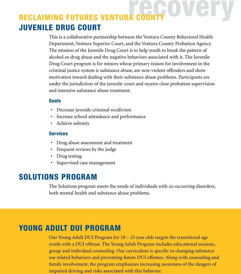 The Juvenile Drug Court program is for minors whose primary reason for involvement in the criminal justice system is substance abuse, are non-violent offenders and show motivation toward dealing with