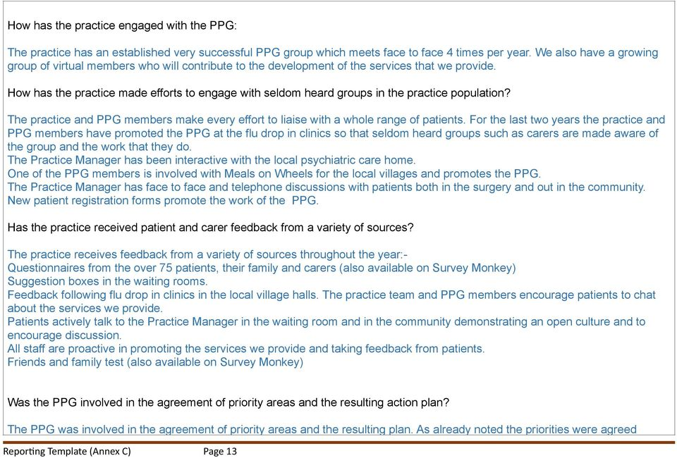 How has the practice made efforts to engage with seldom heard groups in the practice population? The practice and PPG members make every effort to liaise with a whole range of patients.