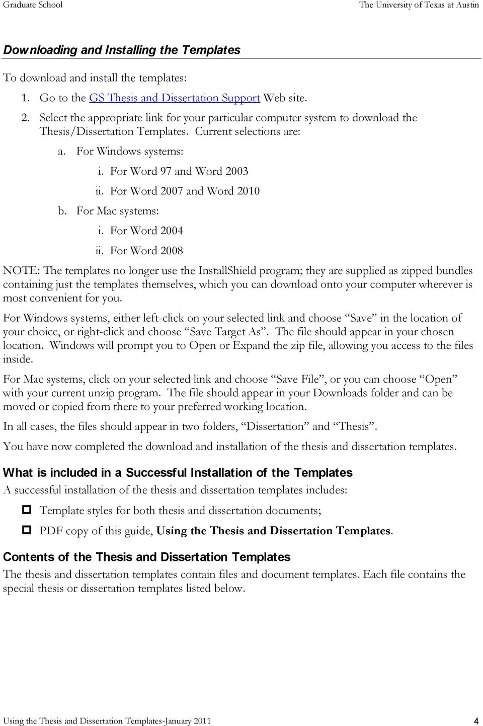 Using The Thesis And Dissertation Templates Pdf