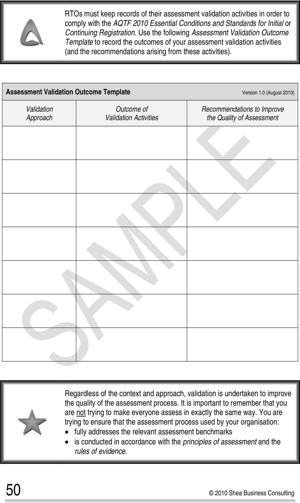 Assessment Validation Outcome Template Version 1.