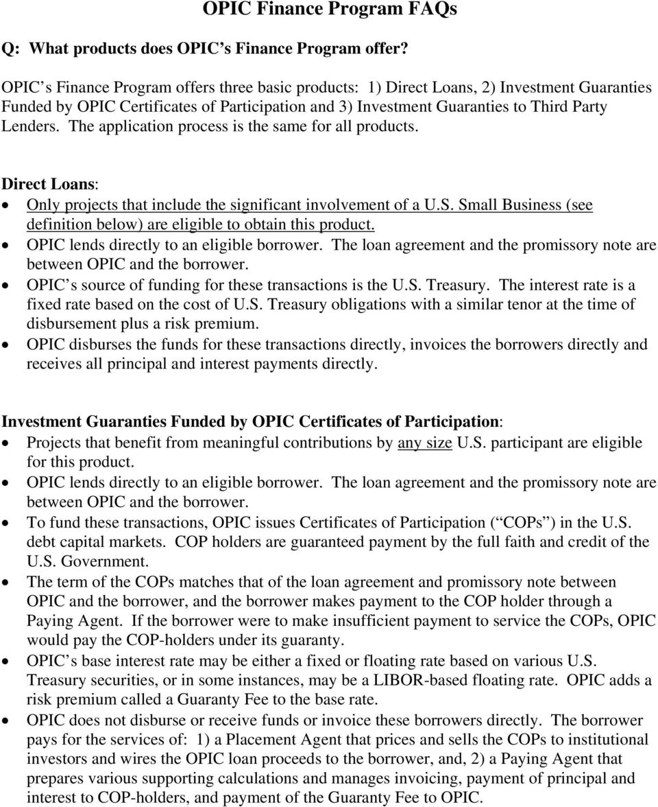 OPIC Finance Program FAQs - PDF