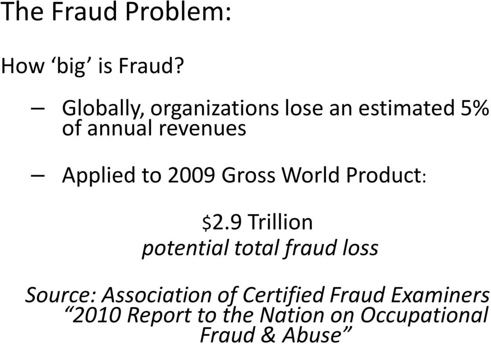 Applied to 2009 Gross World Product: $2.