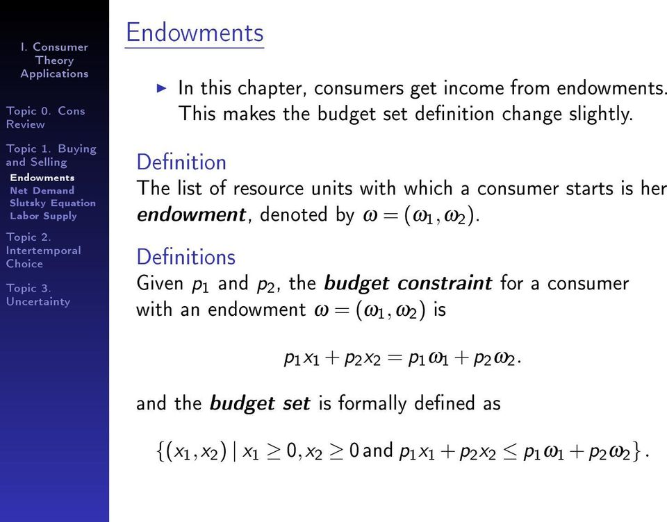 Denition The list of resource units with which a consumer starts is her endowment, denoted by ω = (ω 1,ω 2 ).