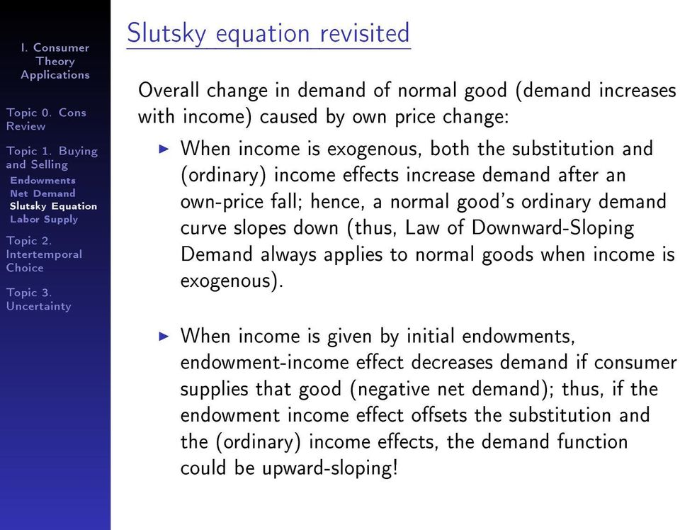(thus, Law of Downward-Sloping Demand always applies to normal goods when income is exogenous).