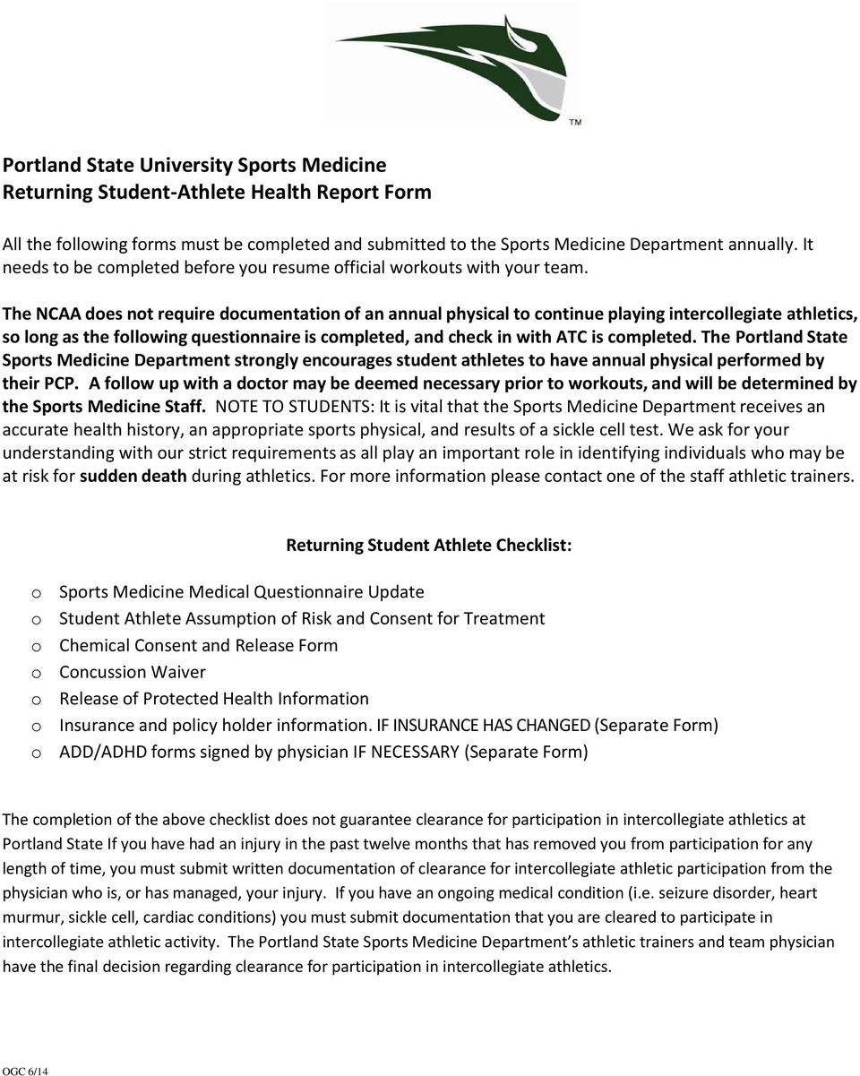 portland state university sports medicine returning student athlete