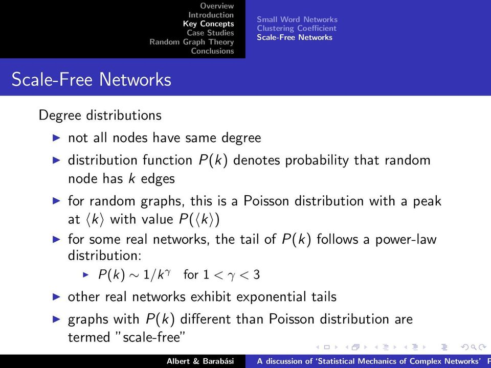 distribution with a peak at k with value P( k ) for some real networks, the tail of P(k) follows a power-law distribution: P(k)