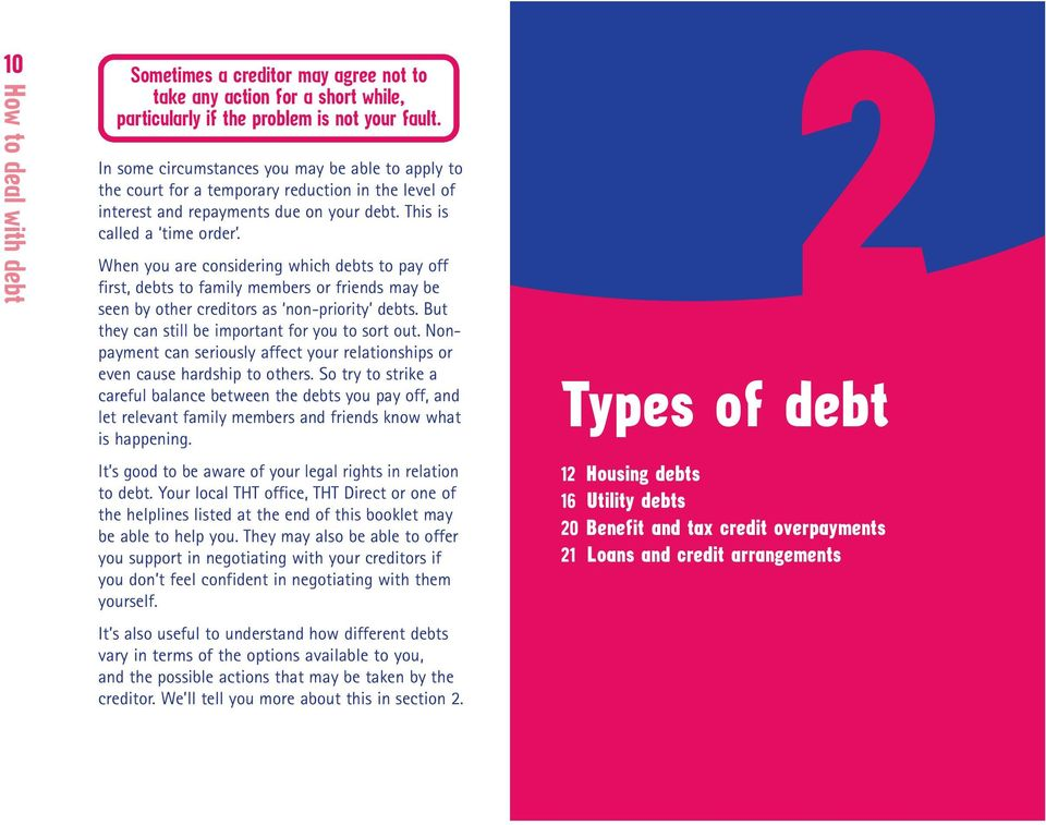 When you are considering which debts to pay off first, debts to family members or friends may be seen by other creditors as non-priority debts. But they can still be important for you to sort out.