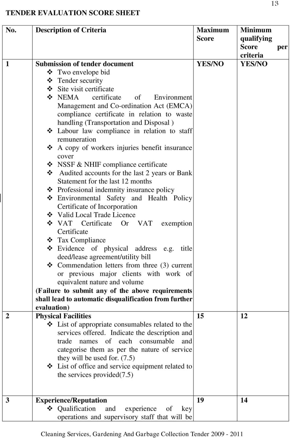 ADM-074 TENDER FOR PROVISION OF CLEANING SERVICES, GARDENING AND