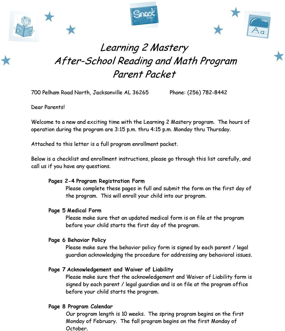 Learning 2 Mastery After-School Reading and Math Program Parent