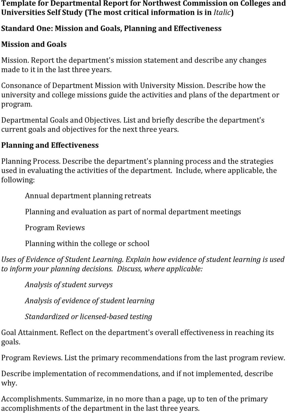 Consonance of Department Mission with University Mission. Describe how the university and college missions guide the activities and plans of the department or program.