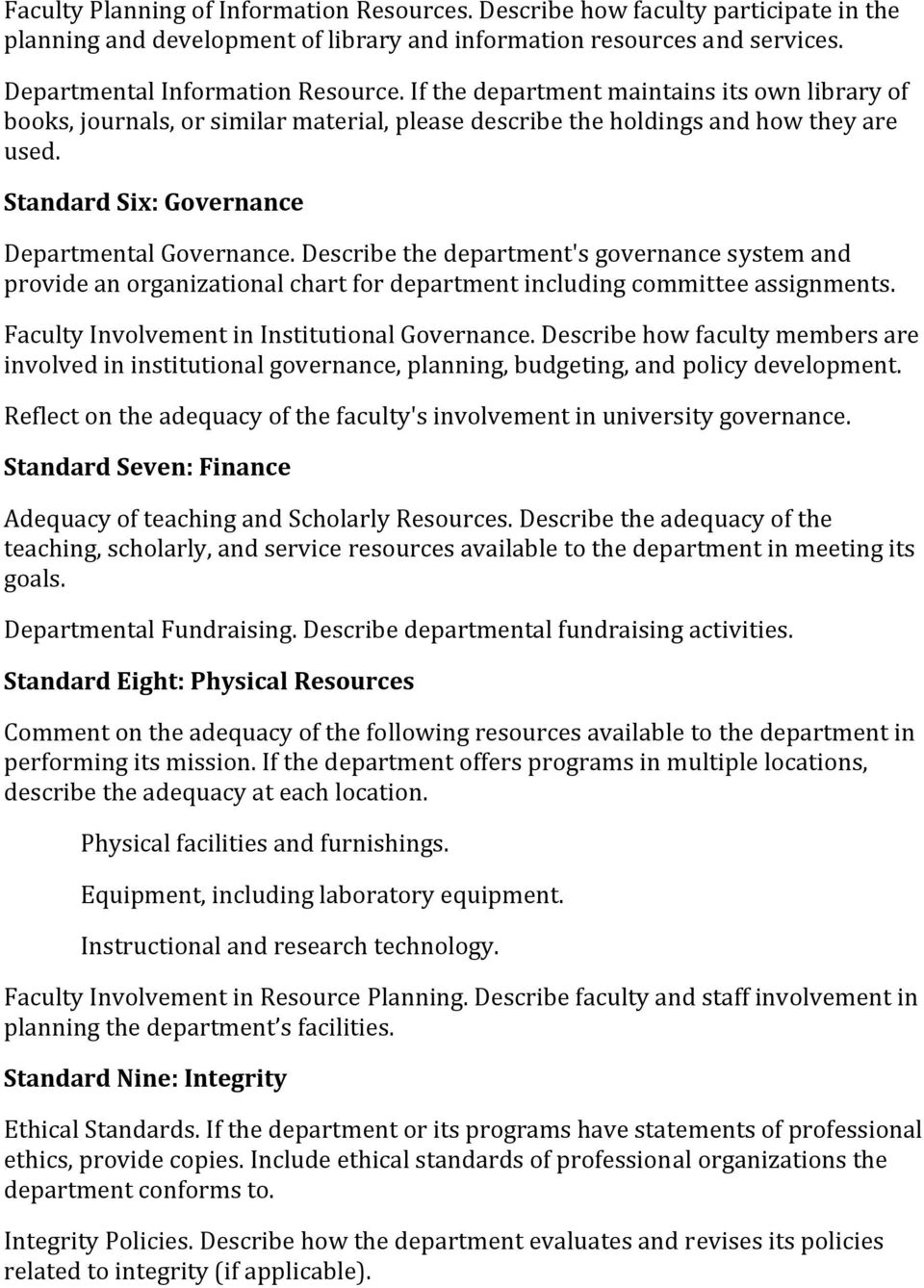 Describe the department's governance system and provide an organizational chart for department including committee assignments. Faculty Involvement in Institutional Governance.