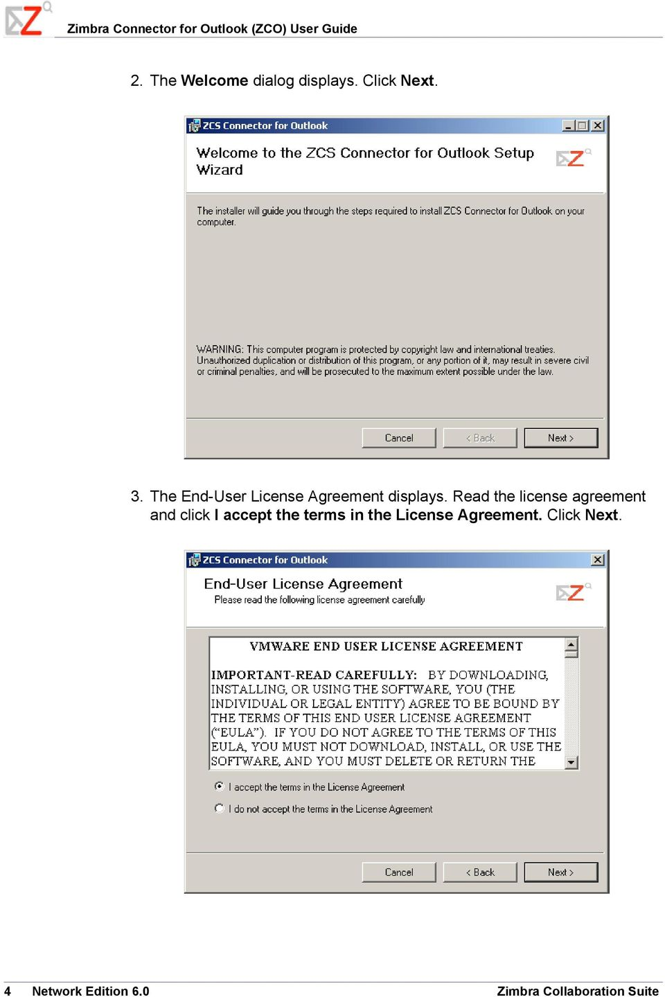 The End-User License Agreement displays.