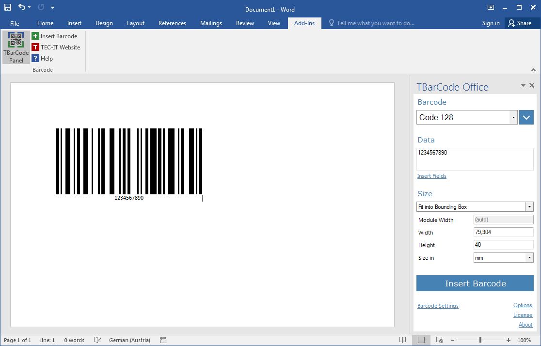 TBarCode Office Barcode Add-In for Microsoft Office - PDF