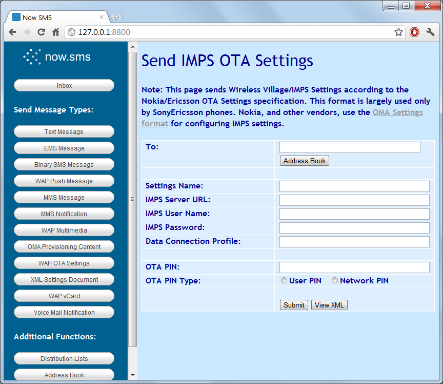 WAP OTA Wireless Village IMPS Settings Phone Number To Receive Is