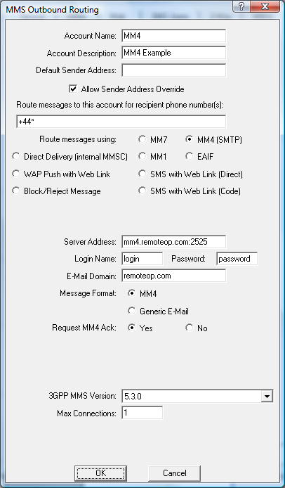 Sending MMS Message MM4 Below Is Shown The Configuration For An MMSC Routing Using