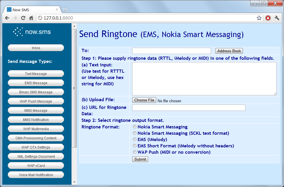 Send EMS Ring Tone The Option Allows You To Submit