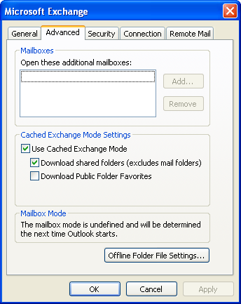 General & Advanced Exchange Settings No changes are needed here.