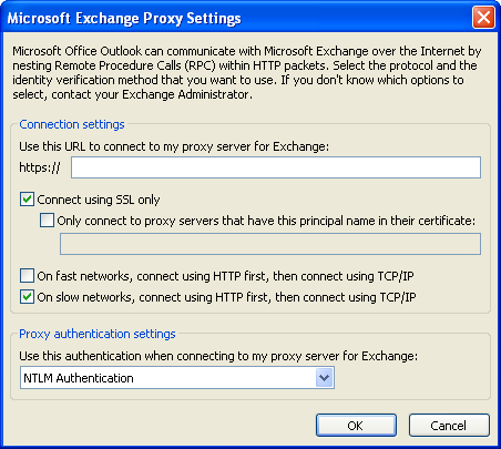 Proxy Settings Enter the proxy server address, SSL certificate info, connection info and authentication information