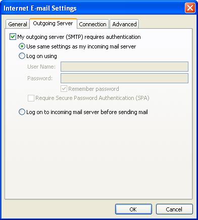 Examples Outgoing server settings First try this If your incoming and outgoing mail