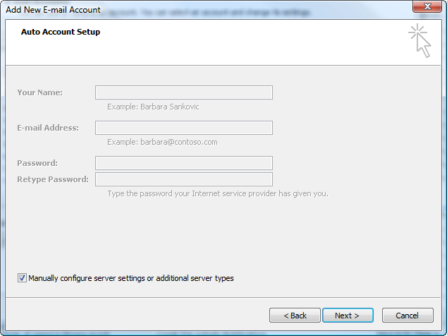 Place a check box in the Manual configure