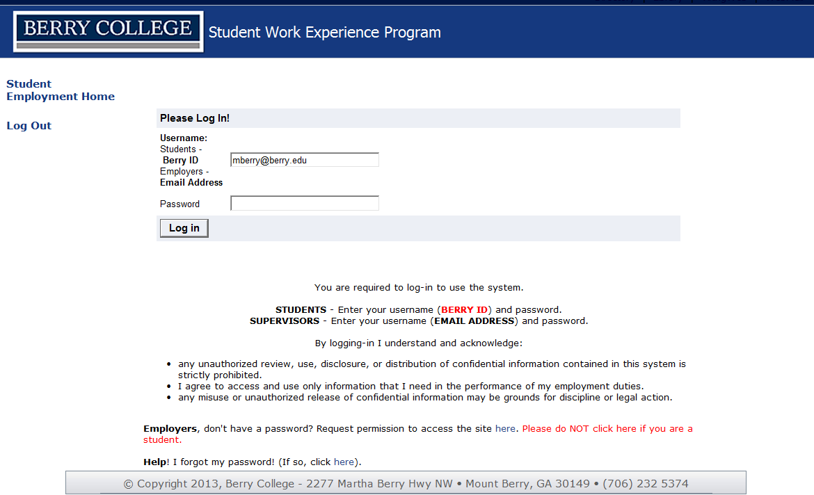 Berry College Office of Student Work  Supervisor User Guide for JobX