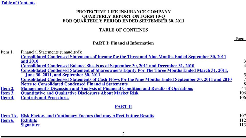 30, 2011 and December 31, 2010 4 Consolidated Condensed Statement of Shareowner's Equity For The Three Months Ended March 31, 2011, June 30, 2011, and September 30, 2011 5 Consolidated Condensed