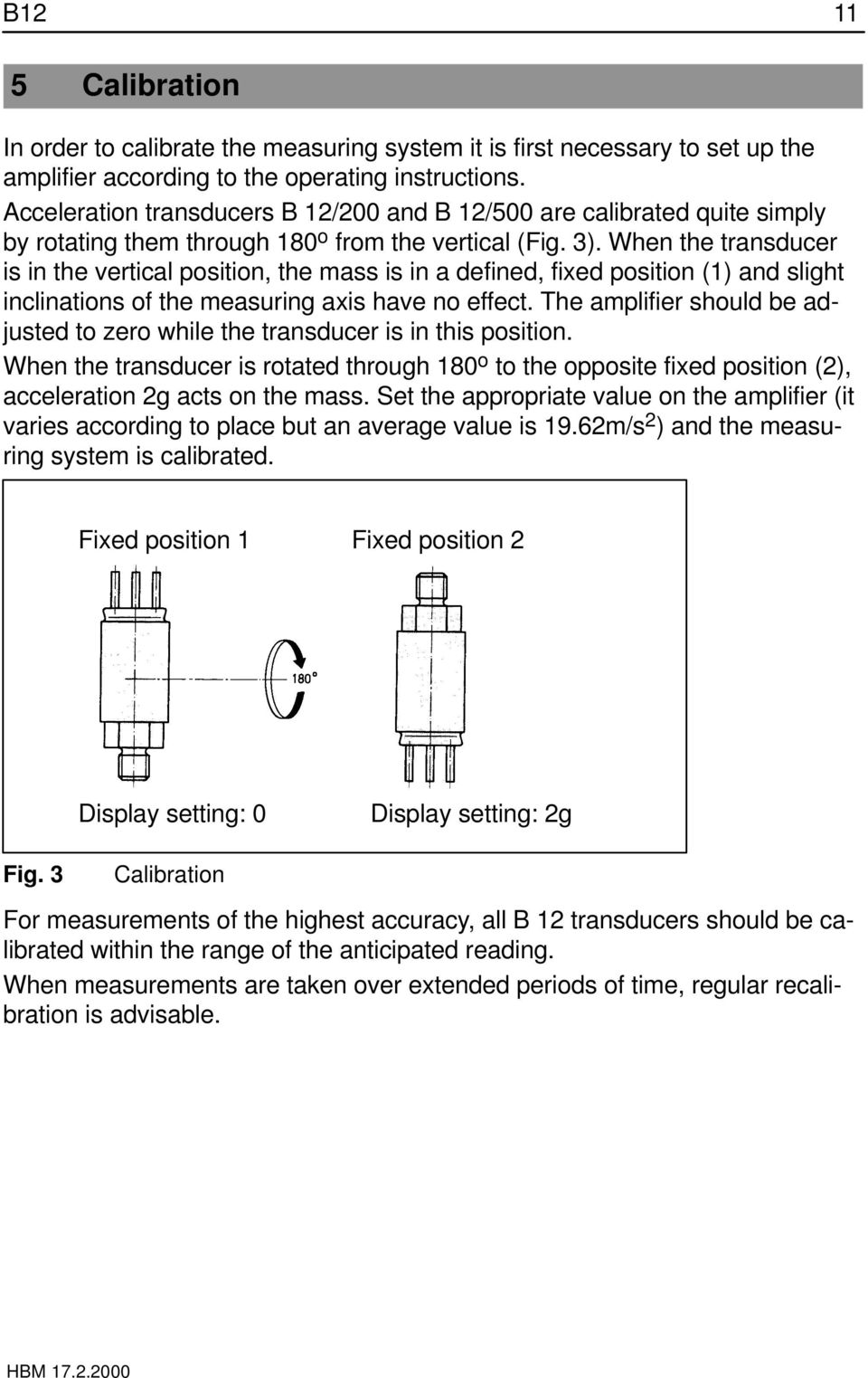 When the transducer is in the vertical position, the mass is in a defined, fixed position (1) and slight inclinations of the measuring axis have no effect.