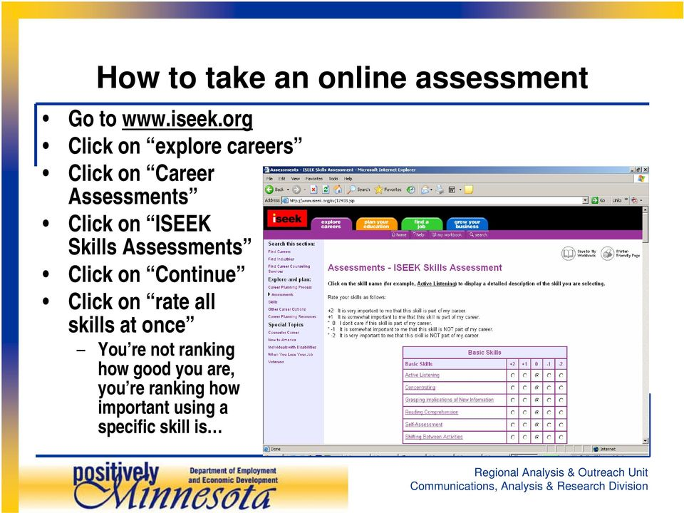 ISEEK Skills Assessments Click on Continue Click on rate all skills at