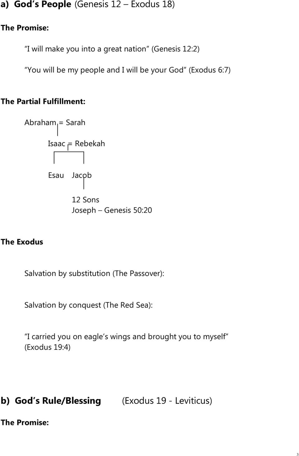 Joseph Genesis 50:20 The Exodus Salvation by substitution (The Passover): Salvation by conquest (The Red Sea): I