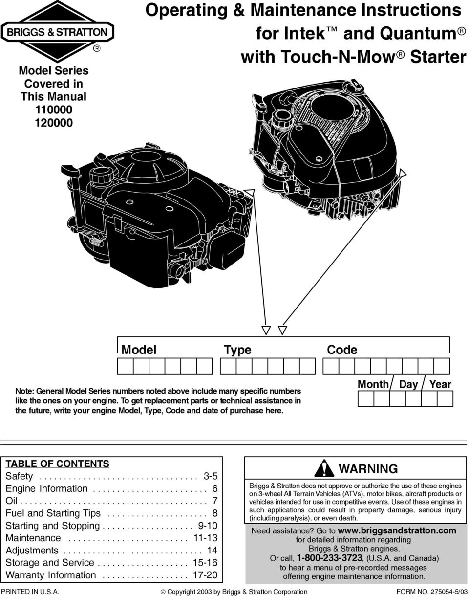 Operating Maintenance Instructions For Intek And Quantum With Ohv Engine Parts Diagram Month Day Year Table Of Contents Safety
