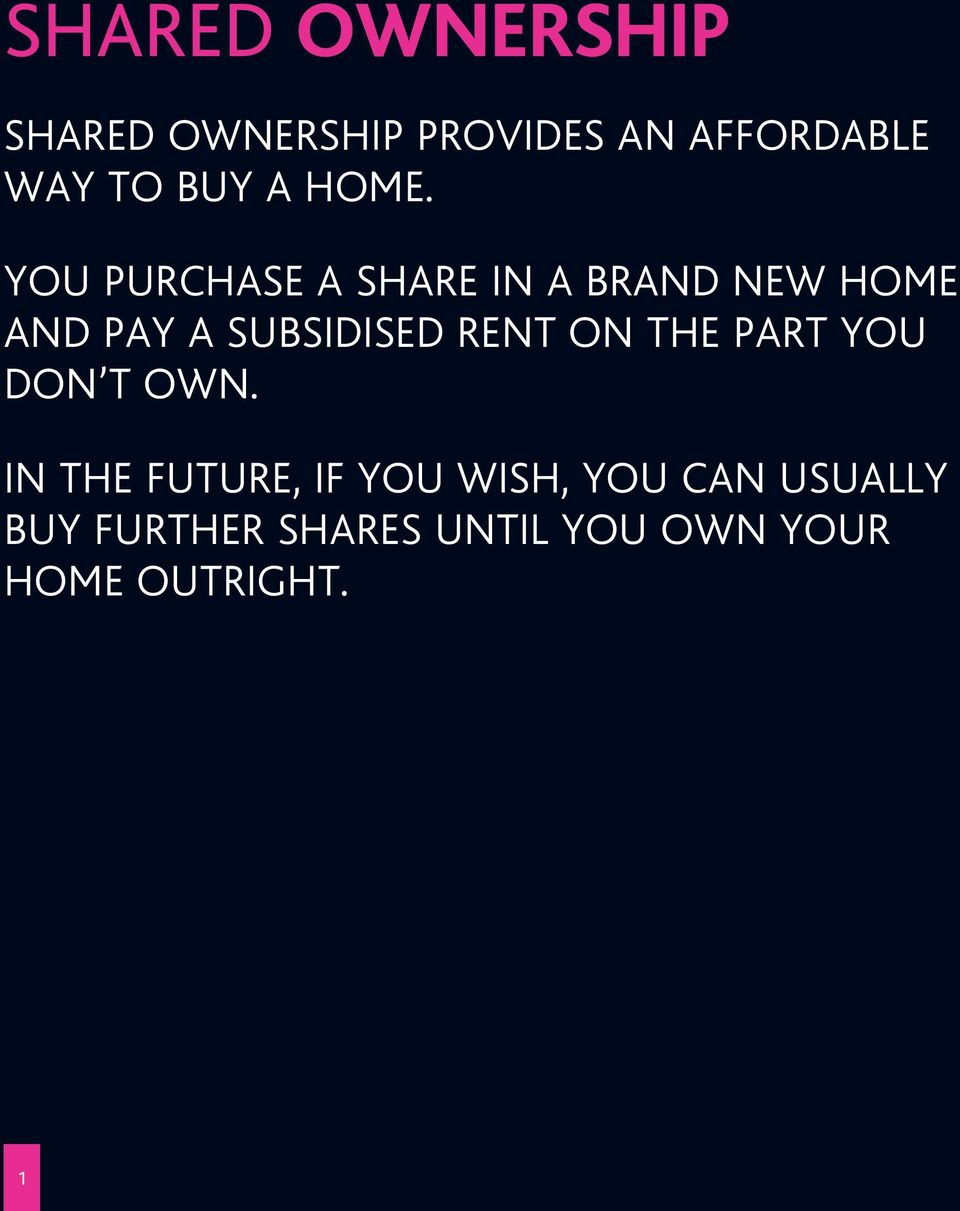 YOU PURCHASE A SHARE IN A BRAND NEW HOME AND PAY A SUBSIDISED RENT