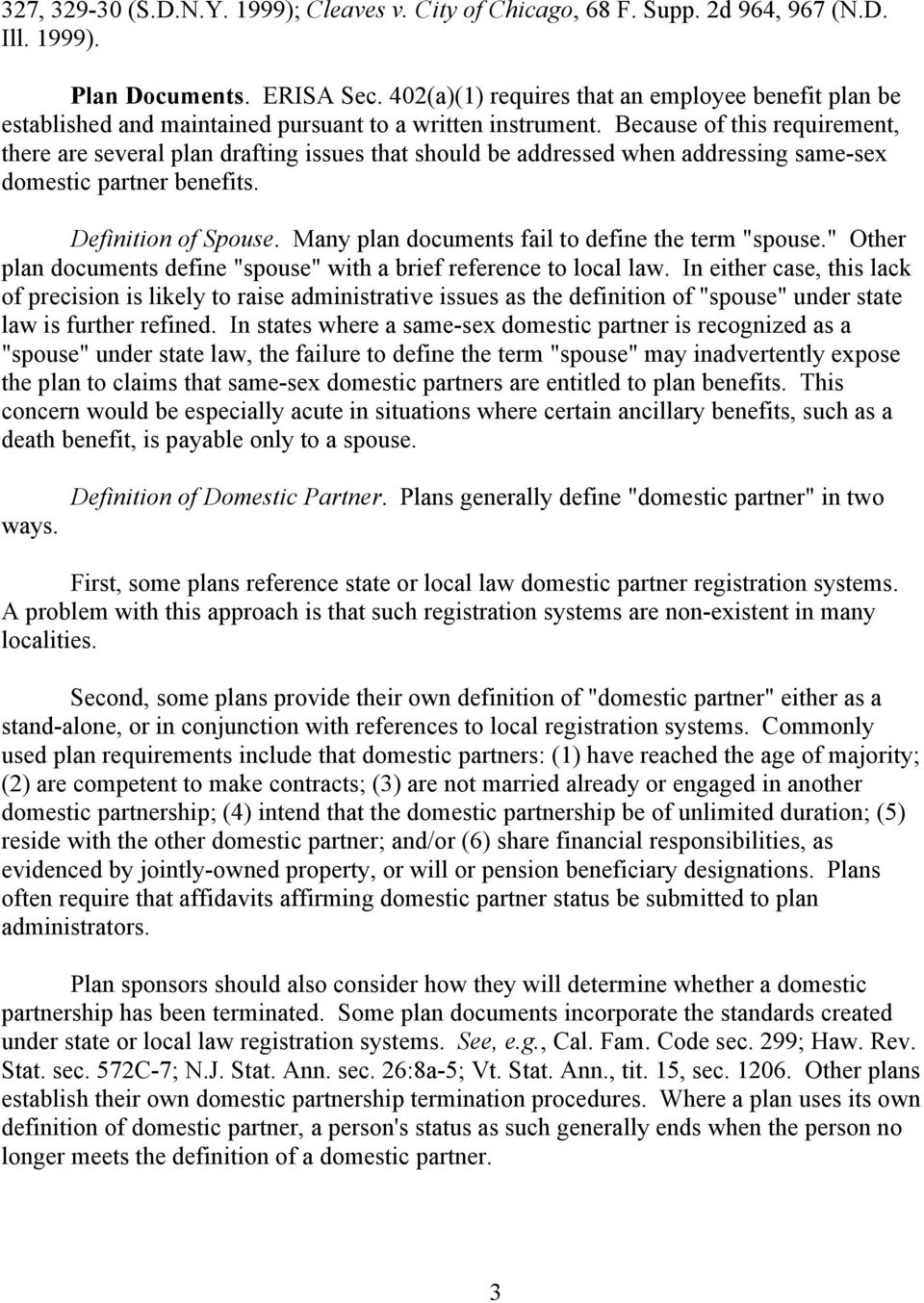same-sex domestic partner benefits current legal and plan drafting
