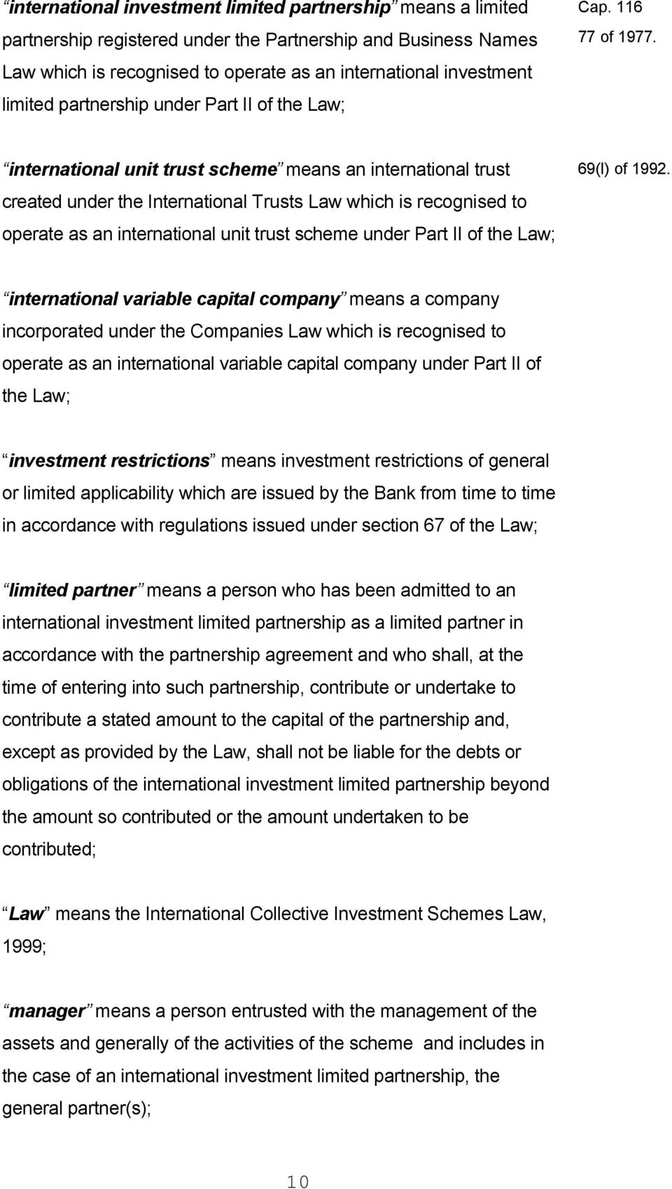 INTERNATIONAL COLLECTIVE INVESTMENT SCHEMES LAW - PDF
