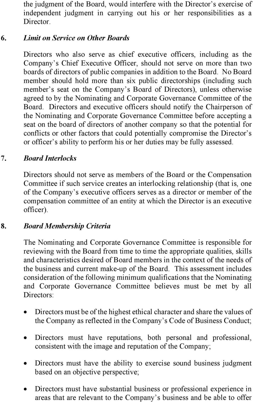 public companies in addition to the Board.