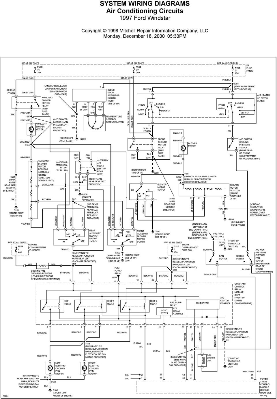 System Wiring Diagrams Air Conditioning Circuits 1997 Ford Windstar 1990 Mustang Diagram Chart