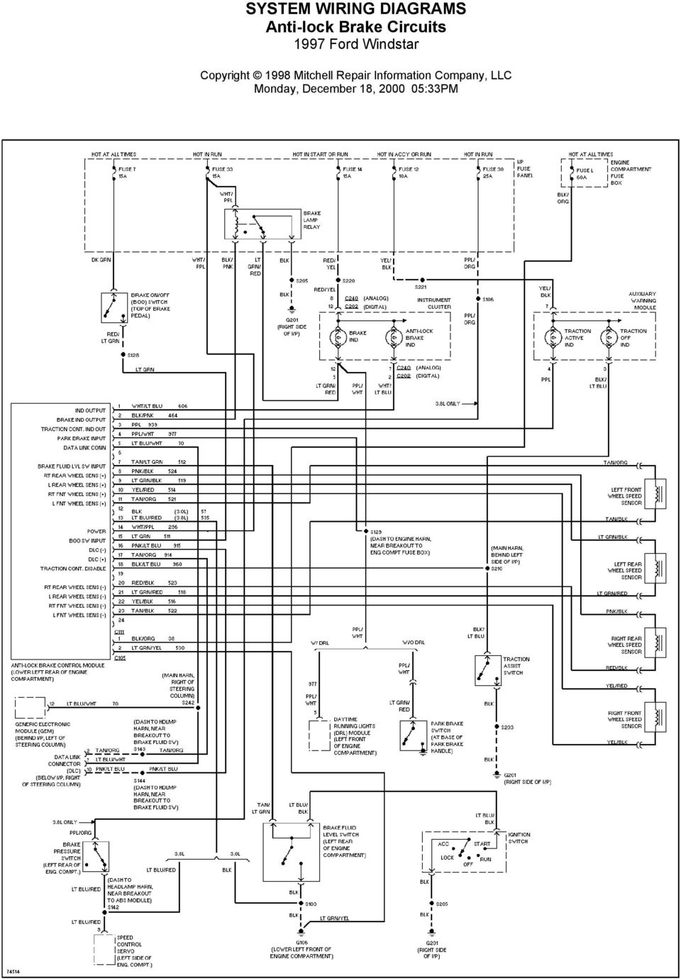 2000 Ford Windstar Wiring Diagrams manual